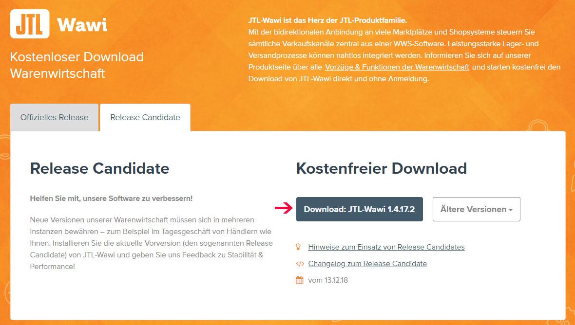 download JTL WAWI Release Canditate