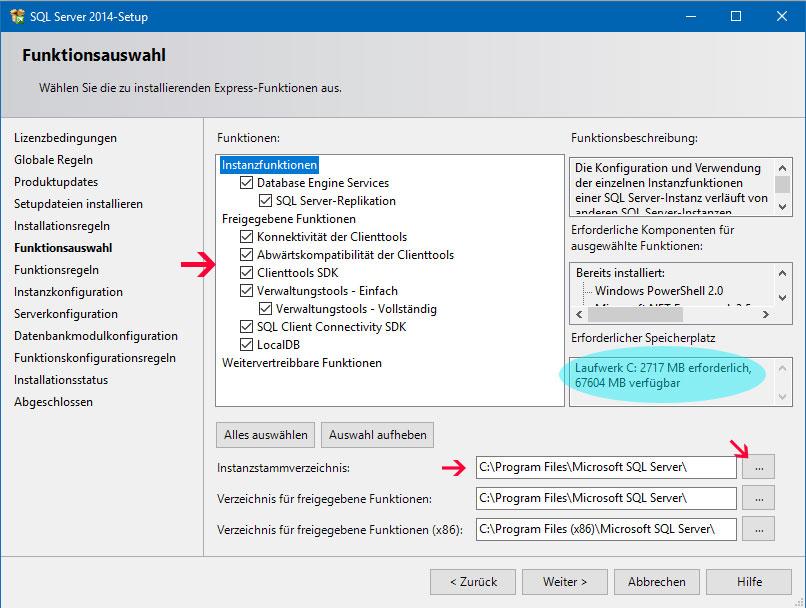 Funktionsauswahl SQL Server