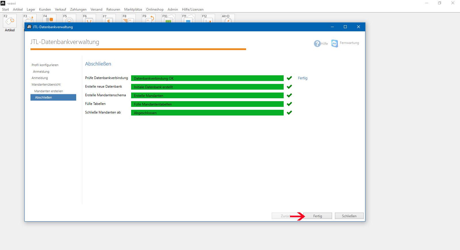 JTL Datenbankverwaltung Mandant erstellt