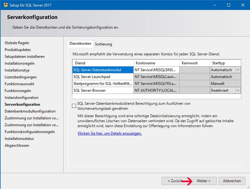 Server Konfiguration